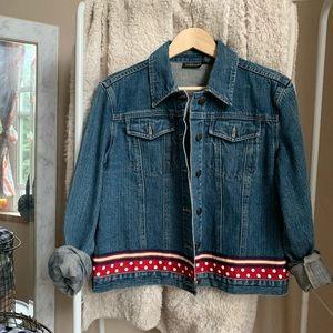Vintage Jackets & Coats - VINTAGE • polka dot retro denim jean jacket